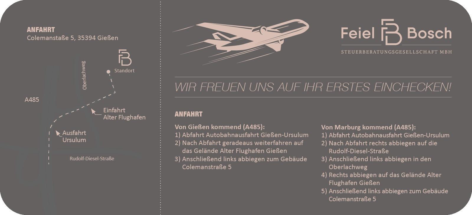 Feiel & Bosch - Boardingpass - Anfahrt