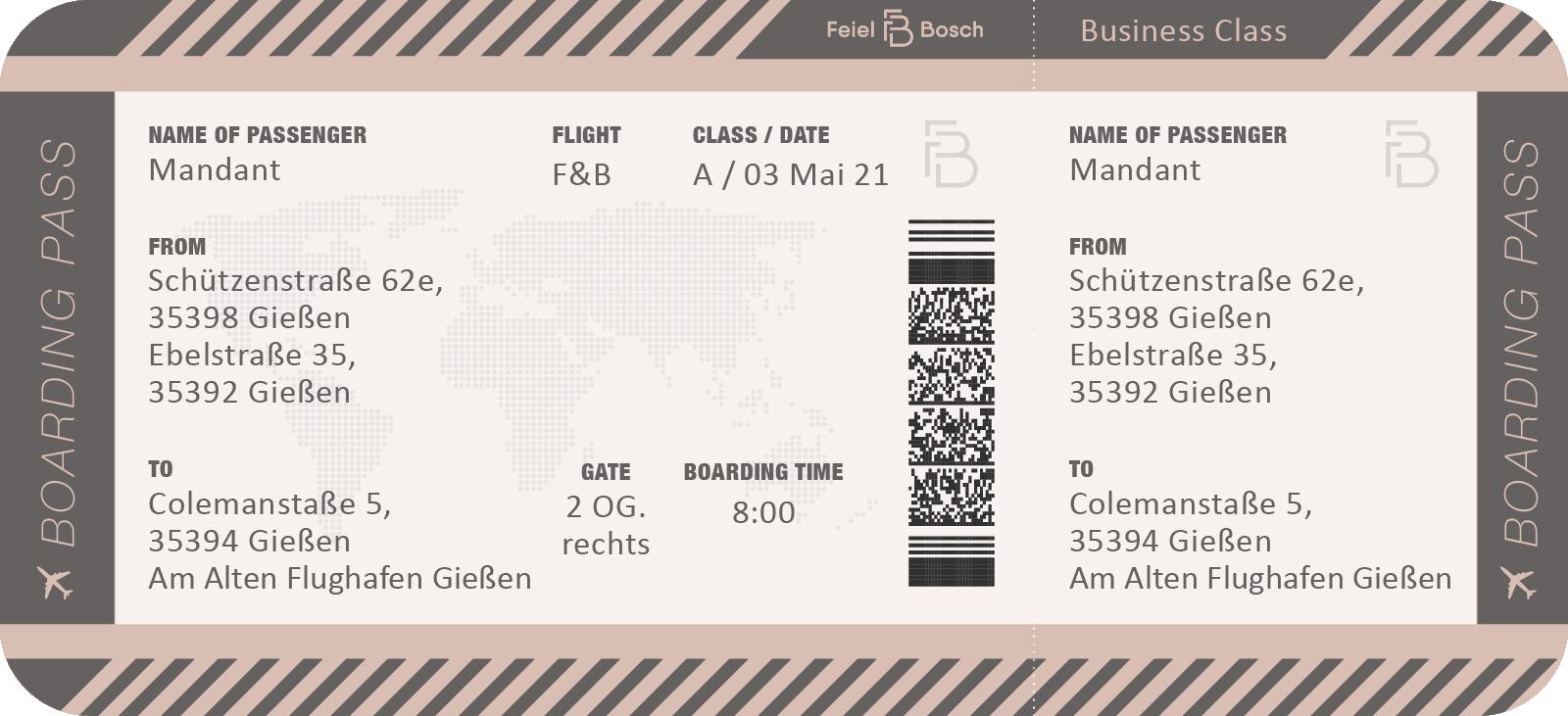 Feiel & Bosch - Boardingpass - Adressen